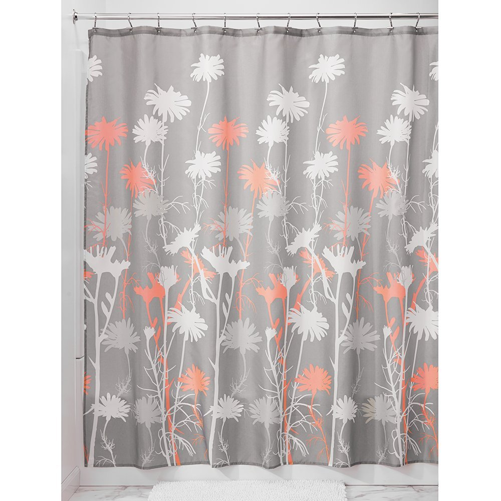 InterDesign   Daizy Grey and Coral Fabric Shower Curtain 183 x 183 cm