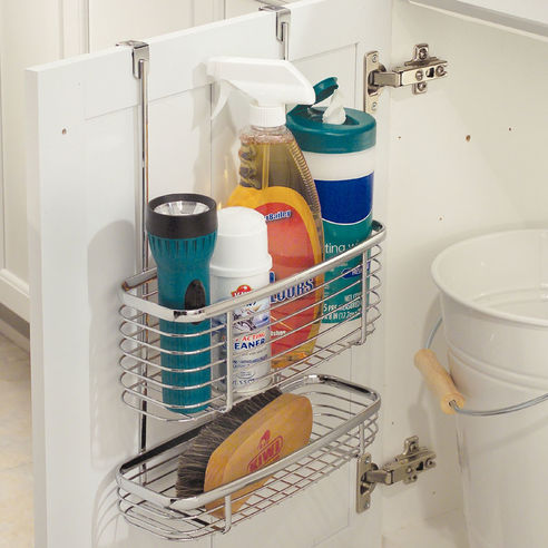 interdesign axis chrome over cupboard storage baskets